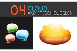 Cloud and speech bubble icon sets