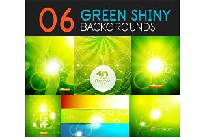 Green shiny light, spring summer seasonal nature background set