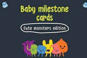 Baby Milestone Cards - Cute Monsters