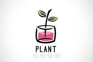 Glass of Plant Logo Template