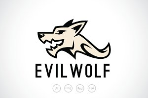 Evil Wolf Logo Template