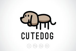 Cute Dog Logo Template