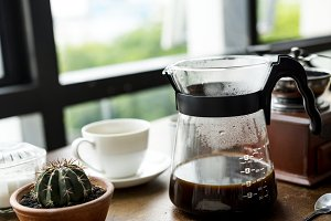 Closeup of coffee jar by the window