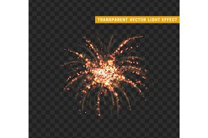 Firework red isolated. Xmas decoration.