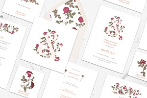 Garden Flower Invitation Suite (PSD)
