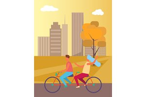 Couple Riding Bicycle in Park Vector Illustration