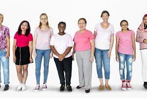 Diverse women in pink tee