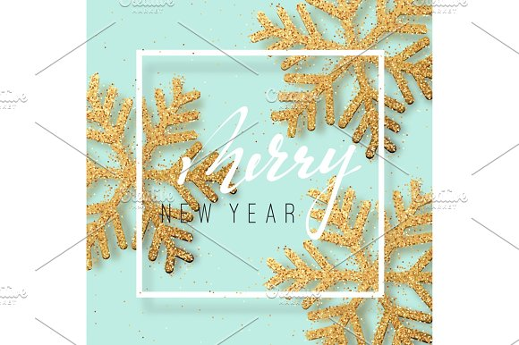Merry New Year background with Shining gold Snowflakes