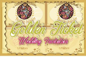 Golden Ticket Wedding Invitation Set
