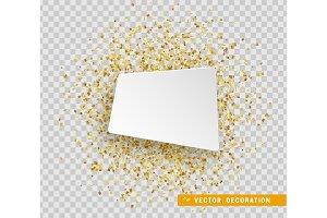Banner paper. Gold confetti