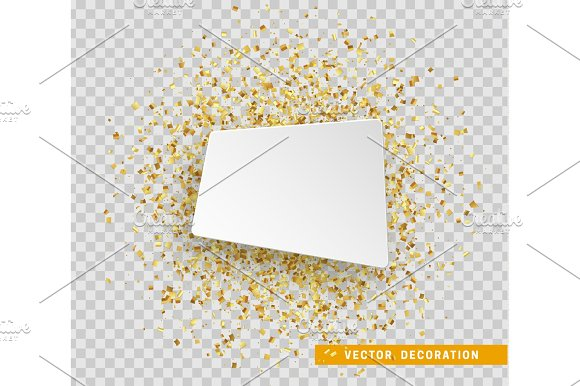 Banner paper. Gold confetti in Objects