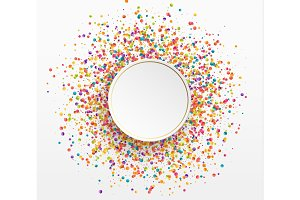 Colorful celebration background with confetti. Paper white bubble for text