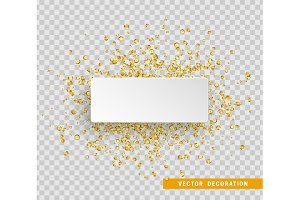 Gold sequins background. Paper white bubble for text