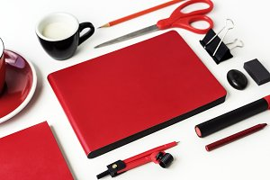 Red stationery isolated on white