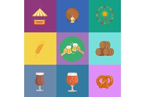 Vector Illustrations Octoberfest. Beer and Food
