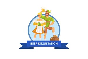 Beer Degustation Octoberfest Vector Illustration