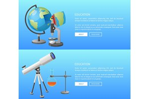 Education Web Banner with Geography and Astronomy