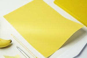 Closeup of yellow paper stationery