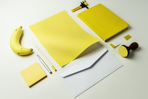 Yellow stationery with banana