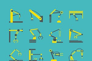 Industrial machine hands icons