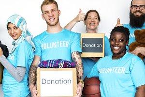 Diverse volunteers