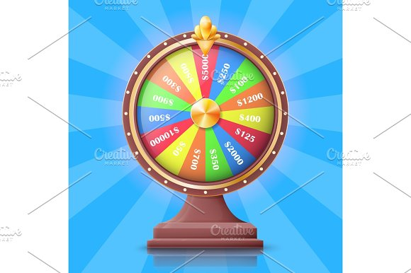 Colorful Wheel of Fortune with Money Prizes Slots