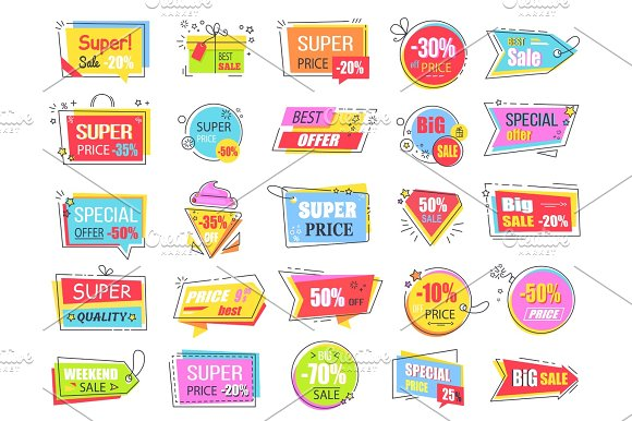 Collection of Colorful Sale Coupons and Tags