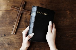 Hands Holding Holy Bible