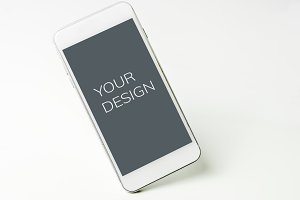 Blank mobile screen isolated n white