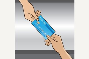 Credit card from hand to hand