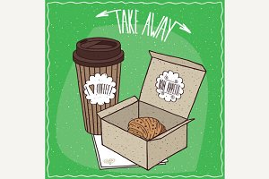 Croissant in carton box and coffee in paper cup