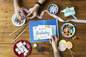 Birthday Wish Card on Wooden Table
