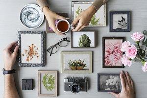 Hands over frame collage