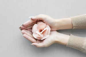 Hand holding paper crafted pink rose