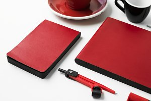 Closeup of red stationery