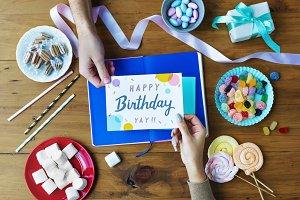 Hand Getting Birthday Wishing Card