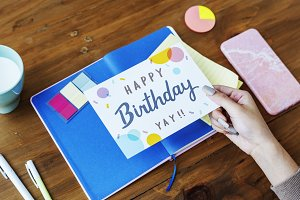 Hand Holding Birthday Wishing Card