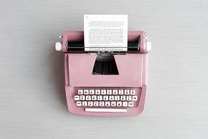 Retro pastel typewriter