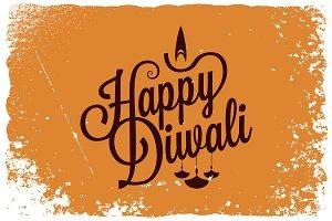 Diwali vintage lettering logo