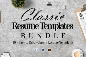 10 Classic Resume Templates Bundle