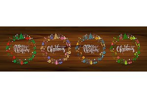 Set Christmas greeting cards