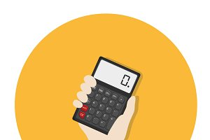 Illustration of hand and calculator