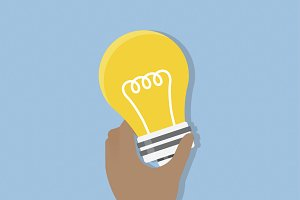 Illustration of hand holding bulb