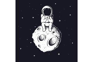 astronaut keeps smartphon