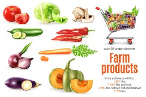 Organic Fruits and Vegetables Set