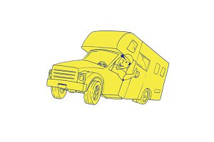 Driver Thumbs Up Camper Van Cartoon