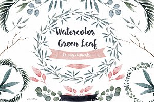 Watercolor Clipart Green Leaf