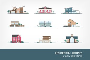 Set of different residential houses