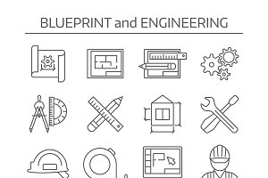 Blueprint with compass icon icons creative market blueprint and engineering icons set malvernweather Choice Image