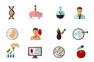 Colored Biotechnology Icon Set